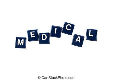 palavra, médico, isolado, plástico, crossword, fundo, branca