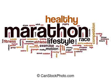 palavra, maratona, nuvem