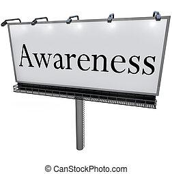 palavra, marketing, sinal, billboard, mensagem, consciência