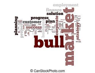 palavra, mercado, nuvem, touro
