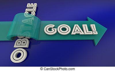 palavra, meta, sobre, alcance, ilustração, obstáculo, seta, superar, 3d