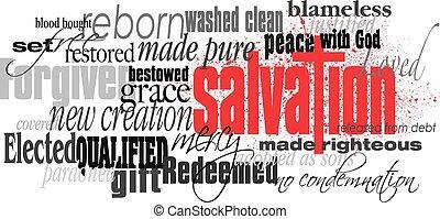 palavra, montagem, crucifixos, cristão, salvação, vermelho