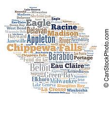 palavra, mostrando, cidades, wisconsin, nuvem