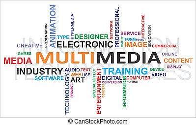 palavra, multimedia, -, nuvem