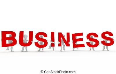 palavra, negócio, formando, humanos, vermelho, 3d