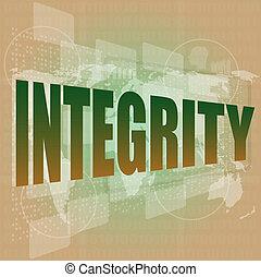 palavra, negócio, fundo, digital, integridade, concept: