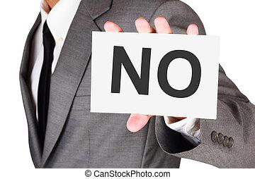 palavra, negócio, não, dizer, expressão, cartão