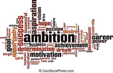 palavra, nuvem, ambição