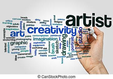 palavra, nuvem, artista