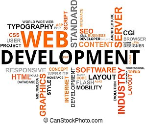 palavra, nuvem, -, desenvolvimento web
