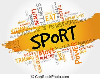 palavra, nuvem, desporto, condicão física