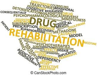 palavra, nuvem, Droga, reabilitação