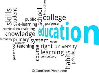 palavra, nuvem, -, educação