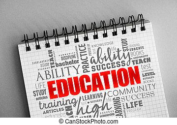 palavra, nuvem, educação, colagem