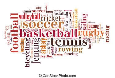 palavra, nuvem, esportes