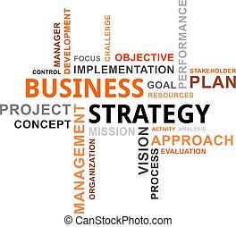 palavra, -, nuvem, estratégia negócio