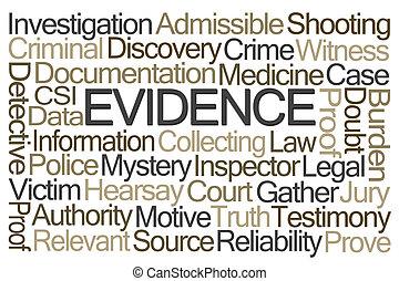 palavra, nuvem, evidência