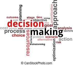palavra, nuvem, -, fazer decisão