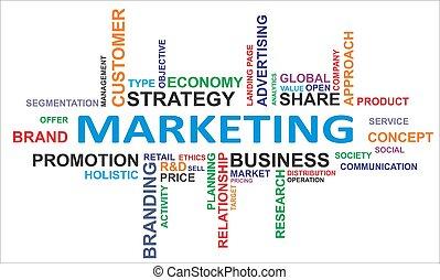 palavra, nuvem, -, marketing