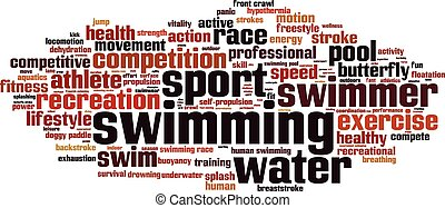 palavra, nuvem, natação