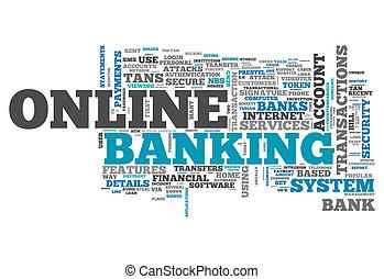 palavra, nuvem, negócio online bancário