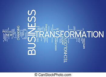 palavra, nuvem, negócio, transformação