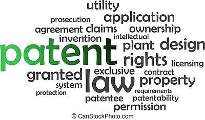 palavra, nuvem, -, patente