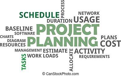 palavra, nuvem, -, planejamento projeto
