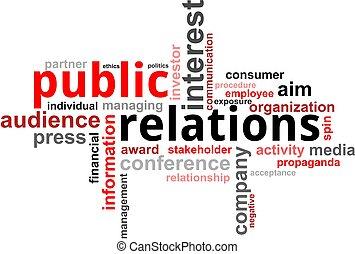 palavra, nuvem, -, relações públicas