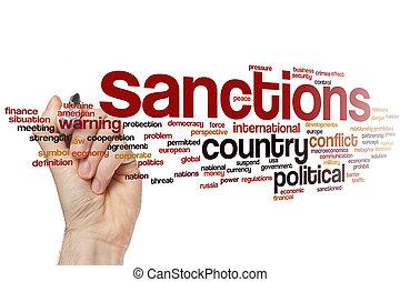 palavra, nuvem, sanções