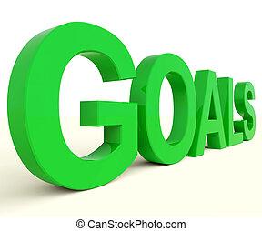 palavra, objetivos, futuro, metas, mostrando, esperança