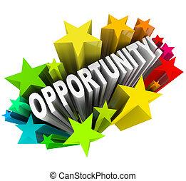 palavra, oportunidade, starburst, -, novo, excitante,...