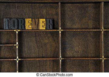 palavra, para sempre, em, letterpress, tipo