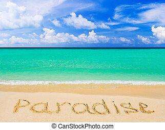 palavra, paraisos , ligado, praia