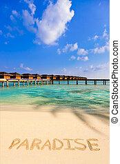 palavra, paraisos , praia
