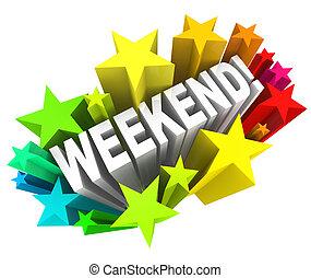 palavra, partir, domingo, estrelas, excitante, fim semana,...