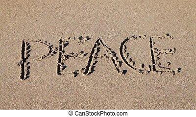 palavra, 'peace', desenhado, areia
