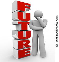 palavra, pensando, ao lado, pessoa, futuro, pondera, homem