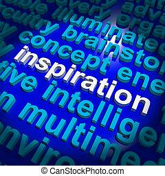 palavra, pensando, positivo, mostrando, encorajamento, inspiração