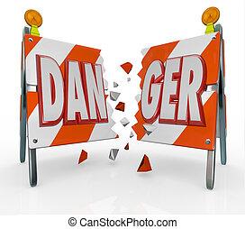 palavra, perigo, quebrar, ignorando, aviso, barricada,...