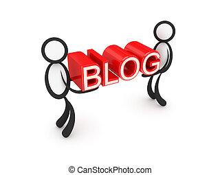 palavra, pessoas, blog, pequeno, hands., 3d