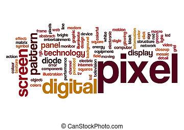 palavra, pixel, nuvem