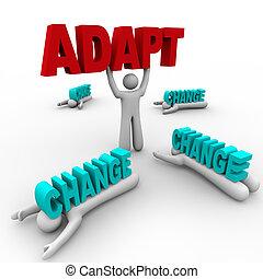 palavra, plataformas, esmagado, um, segurando, outros, adaptar