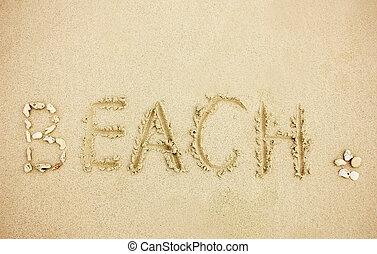 palavra, praia areia
