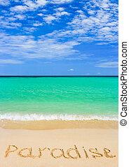 palavra, praia, paraisos