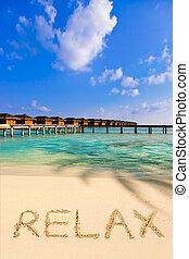 palavra, praia, relaxe