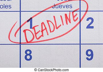 palavra, prazo de entrega, escrito, ligado, um, calendário