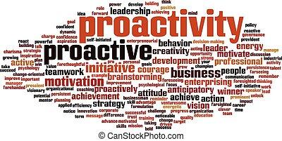 palavra, proactivity, nuvem