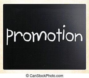"palavra, ""promotion"", quadro-negro, giz, branca, manuscrito"