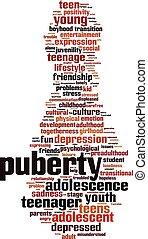 palavra, puberdade, nuvem
